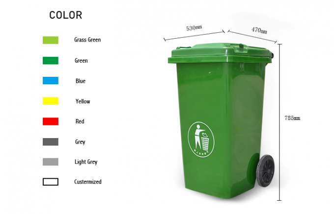 100l, 120l, 240l HDPE eco-friendly plastic dustbin with wheels and lid for park and street