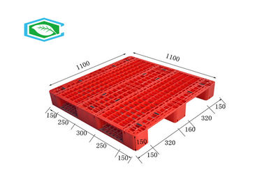 Reinforced HDPE Three Skid Plastic Standard Pallets With 8 Steel Tubes Inside For Rack
