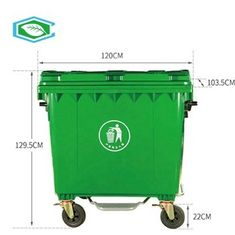 Out Door Trectangular Recycle 50 Gallon Waste Bins All Purpose With Wheels