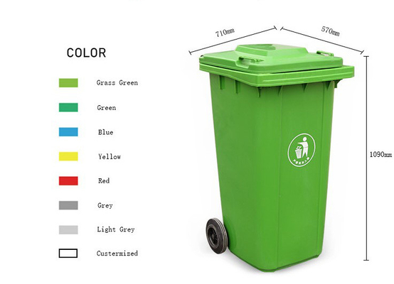 Large Recycle 50 Gallon Trash Bin On Wheels Heavy Duty Plastic Outdoor Anti Slip