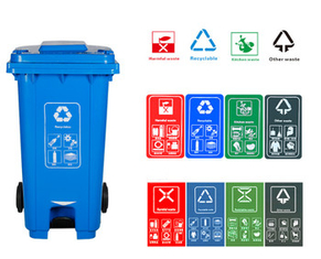 Outdoor 50 Gallon Trash Can 240L Environmental Protection Classified Pedal Garbage Can