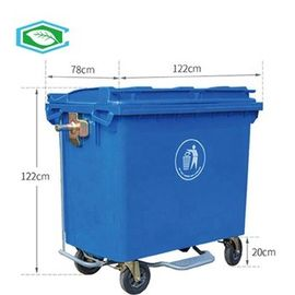 Rectangular 50 Gallon Trash Can Outdoor Movement Sanitation Recycling Garbage Container